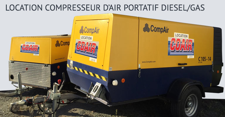 LOCATION COMPRESSEUR D'AIR  PORTATIF DIESEL/GAS