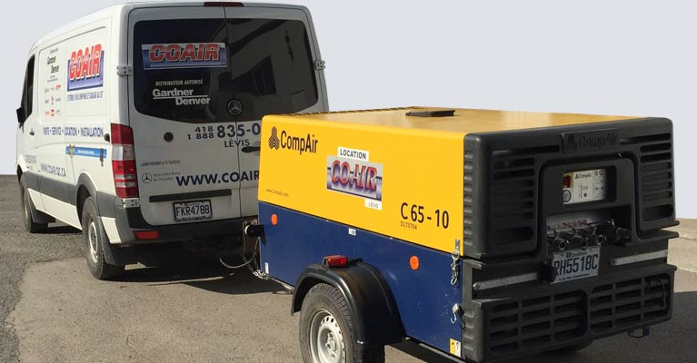 LOCATION COMPRESSEUR D'AIR  PORTATIF DIESEL/GAS plus camion